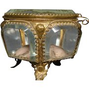Antique French ormolu pocket watch casket jewelry box original lining