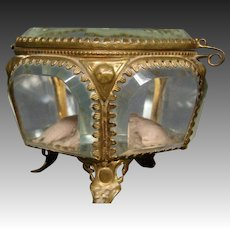 Antique French ormolu pocket watch casket jewelry box original lining