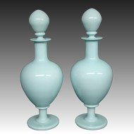 Portieux Vallerysthal blue opaline pair of matching large decanters