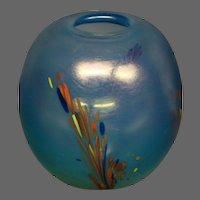 Dominick Labino signed art glass vase pulled feathers or leaves 1972