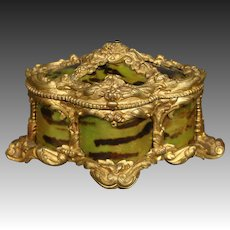 Antique gilded metal and faux tortoiseshell dresser box