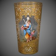 Moser art glass enameled mother child gilded beaded juice glass signed late 1800's