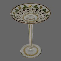 Theresienthal Bohemian tall gilded strawberry art glass compote tazza