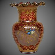 Moser cranberry gilt and enameled bird floral art glass vase