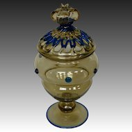 Steuben art glass rare covered urn form 3109 variant lattice work crown finial