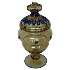 Steuben art glass rare covered urn form 3109 variant lattice work crown finial