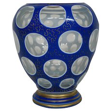 Bohemian art glass triple overlay decorated vase