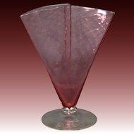 Steuben art glass ruby cranberry fan vase signed unusual form shape 6862
