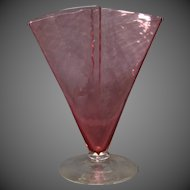 Steuben art glass ruby cranberry fan vase signed unusual form shape 6862