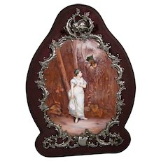 Antique Austrian enamel screen silver frame woman on path with man