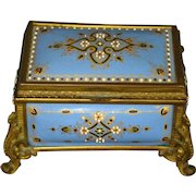Antique French 1800's fire kiln enamel jewelry box casket Tahan