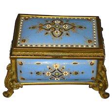 Antique French 1800's fire kiln enamel jewelry box casket Tahan