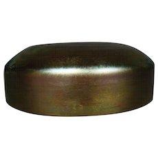 Iridescent gold aurene art glass jar lid