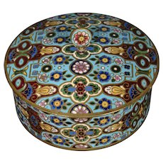 French champleve enamel round covered box Ovington New York France