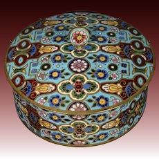 French champleve enamel round covered box Ovington New York France