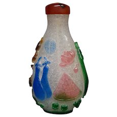 Peking cameo glass snuff bottle multicolored fruits flowers taller