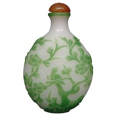 Peking cameo glass snuff bottle jade alabaster stork pagoda birds
