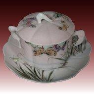 Japanese sharkskin coralene porcelain signed covered cup saucer irises butterflies