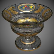 Bohemian enamel floral and gold art glass compote vase