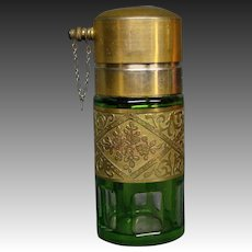 French green and gold floral acid cut back perfume bottle atomizer
