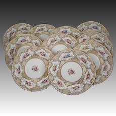 Coalport England china set of ten hand painted floral gilded dinner plates 6710B