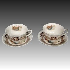 Johnson Brothers Barnyard King cups and saucers turkey