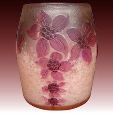 Legras French cameo glass vase flowers internal mottling signed