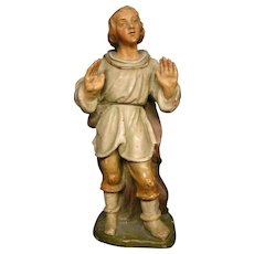 Antique German terra cotta polychrome decorated statue figurine artist initialed FGD