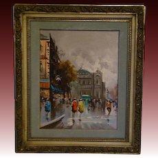 Andrea de Vity French impressionist street scene Paris oil painting