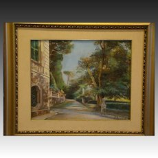 Beretta signed tranquil garden path house oil painting on canvas