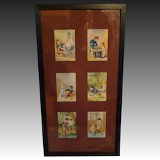 Victorian antique framed set six trade cards children at play 1880's CH Ayers