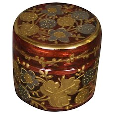Moser cranberry gilded platinum enameled miniature art glass covered box signed