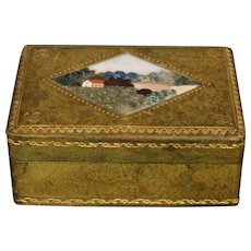 Italian pietra dura inlaid leather box scenic landscape