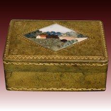 Italian pietra dura inlaid leather box scenic landscape