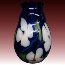 Charles Lotton multi flora cobalt blue white flowers art glass vase signed dated 1979
