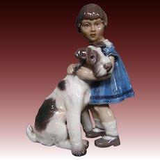 Dahl Jensen DJ Copenhagen girl with dog fox terrier figurine 1085
