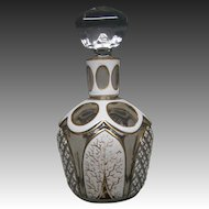 Antique Bohemian white cut to clear overlay perfume bottle gold decoration