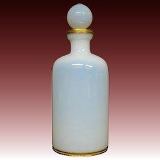 White opaline glass perfume bottle gilded mounts