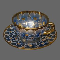 Moser gilded enameled pansy floral cup and saucer signed pictured in book