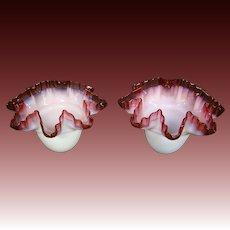 Victorian art glass pair of matching lamp shades