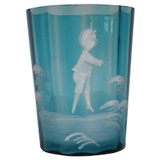 Victorian blue Mary Gregory enameled art glass tumbler