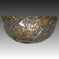 Antique pair French cut glass gilded scalloped edge bowls