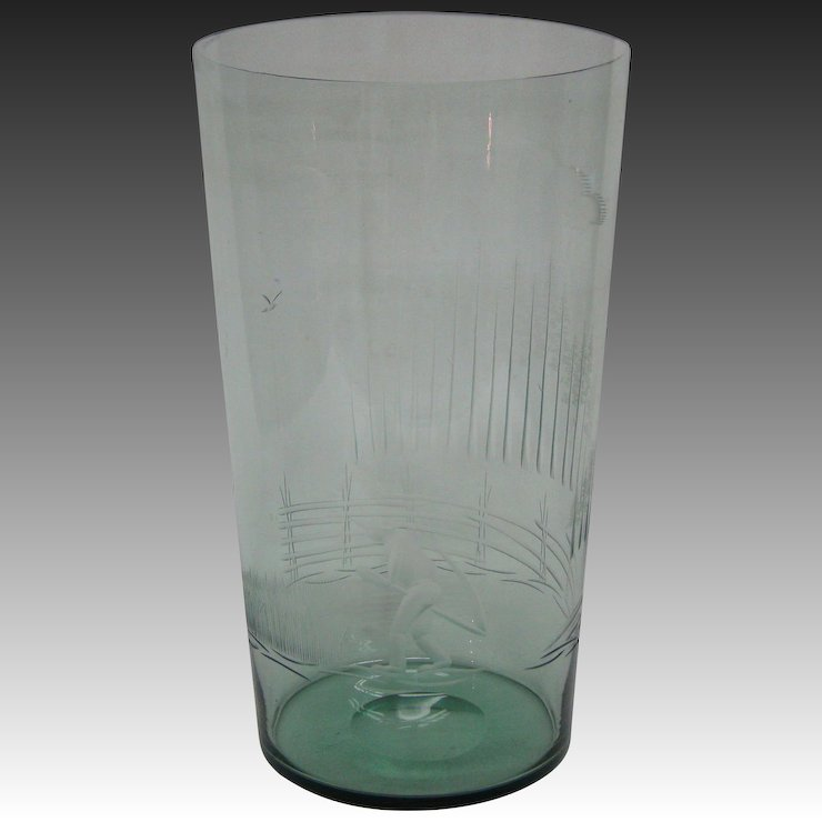 Karhula Glass Mid Century Finnish Art Glass Etched Vase Signed