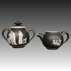 Pratt Fenton Old Greek creamer and covered sugar bowl