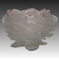 Antique Victorian rose art glass bowl petals