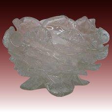 Antique Victorian rose art glass bowl petals