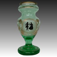 Bohemian green and gold portrait art glass vase