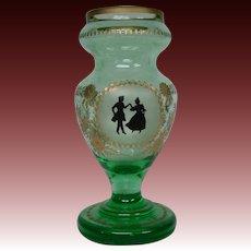 Bohemian green and gold portrait art glass vase