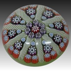 Peter MacDougall millefiori art glass signed paperweight