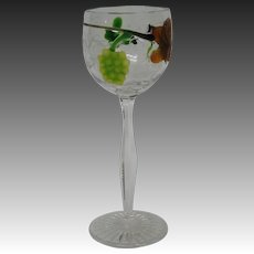 Moser art glass tall marquetry padded goblet grape leaves and clusters